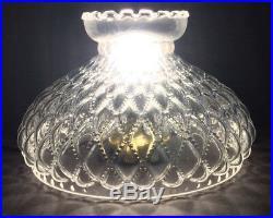 10 Clear Glass Diamond Quilted Quilt Oil Kerosene Lamp Shade fits Aladdin SH401