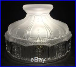 10 Glass Oil Kerosene Lamp Shade Satin Crystal Top & Clear Panels fits Aladdin