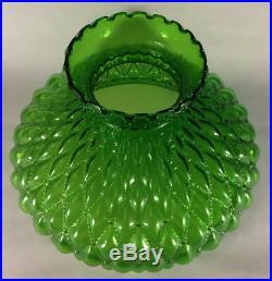 10 Green Oil Kerosene Glass Diamond Quilted Student Lamp Shade fits Aladdin 405