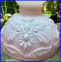 10 Student Oil Lamp Cased Embossed Satin Glass Shade For Aladdin, Rayo, B&h
