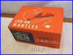 12 Aladdin Lox-On Mantles Fluid Oil Kerosene Lamp Light Display Box NOS B C 21C