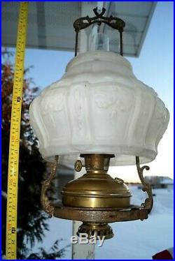 1910s Aladdin Model 6 Font Model 7 Bracket #416 Shade Kerosene Oil Hanging Lamp