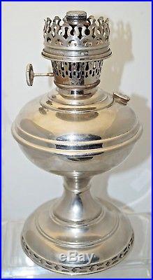 1913 14 Aladdin Model 5 Nickle Plated Oil Kerosene Table Lamp #5 Flame Spreader