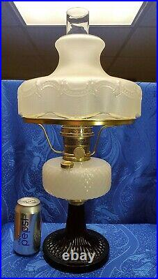 1930's Aladdin Black White Quilted Moonstone Model B Oil Kerosene Lamp with Shade