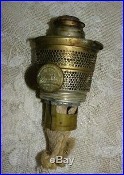 1930's Aladdin Corinthian Kerosene Oil Lamp White Jadite Green Moonstone Glass