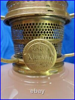 1930's Aladdin Rose Moonstone Corinthian Model B Oil Kerosene Melon Shade Lamp