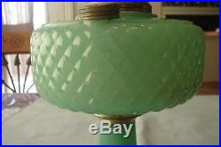 1930s ALADDIN GREEN MOONSTONE QUILT Pattern OIL LAMP B-86 FREE SHIPPING