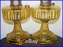 1930s Aladdin Yellow / Amber Corinthian Kerosene Oil Table Lamp Marked Chimney