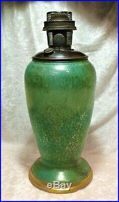 1932 Aladdin Art Glass Venetian Vase Lamp Model #12 Green Cat #1243