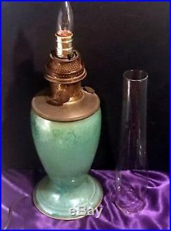 1932 Aladdin Venetian Art Glass Vase Lamp Model #12 Green Cat #1243-electrified