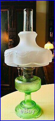 1933 ALADDIN MODEL B COLONIAL105 GREEN CRYSTAL with NICKEL BURNER, Chimney & Shade