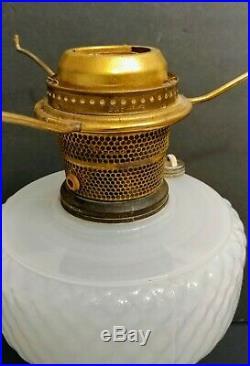 1933 Antique Aladdin White Quilted Font Pink & White Moonstone Kerosene Oil Lamp