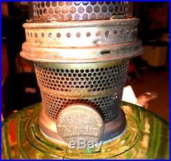 1934 ALADDIN GREEN CRYSTAL CATHEDRAL Lamp #108 Nu-Type B Burner L/O Chimney