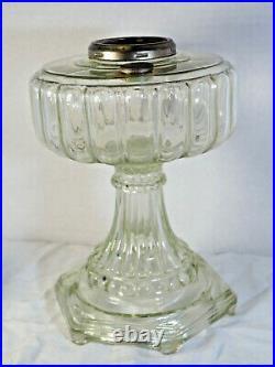 1934 Aladdin Cathedral glass Oil Lamp Clear Crystal 107 Model B Burner chimney