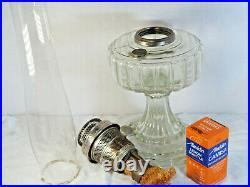 1934 Aladdin Cathedral glass Oil Lamp Clear Crystal 107 Model B Burner chimney