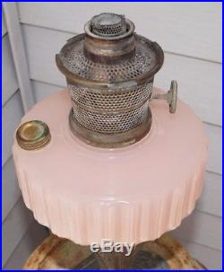 1934 Aladdin Majestic Pink Alacite Cathedral Nickle Plate Kerosene Table Lamp