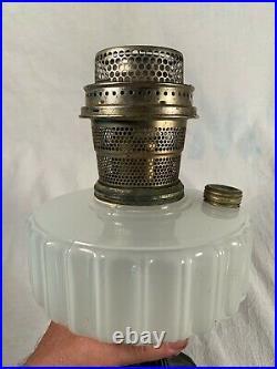 1935 ALADDIN Model B124 White Moonstone Black Foot Corinthian Kerosene Oil Lamp