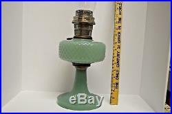 1937 ALADDIN MOONSTONE DIAMOND QUILT B-86 JADE GREEN OIL LAMP Nu Type B Burner