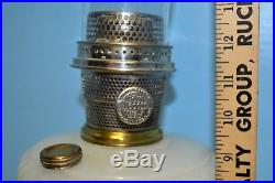 1937 ALADDIN MOONSTONE DIAMOND QUILT WHITE B-85 OIL LAMP Nu Type A Burner Nice