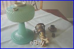 1937 Aladdin B-86 Green Moonstone Quilt Table Lamp FREE SHIPPING