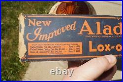 1937 Aladdin BEEHIVE Amber Glass Oil Kerosene Lamp With 501-9 Drape Glass Shade