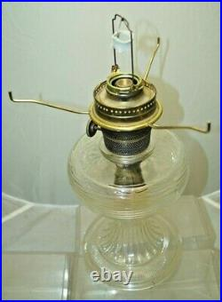 1937 Aladdin BEEHIVE Clear Glass Oil Kerosene Lamp With Hand Painted Glass Shade