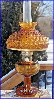 1937 Aladdin Beehive Amber Oil Kerosene Lamp With Glass Shade