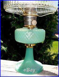 1937 Aladdin Green Moonstone Jadeite Diamond Quilt Oil Lamp 601s Painted Shade