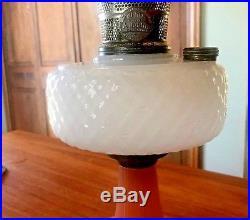 1937, B-91 Quilt Patern Rose/White Moonstone Aladdin Kerosene Lamp