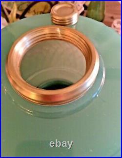 1937 Green Jade Moonstone Aladdin B-86 Diamond Quilt Kerosene Oil Lamp