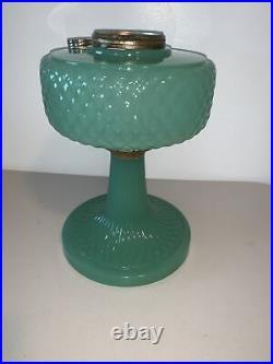 1937 Green Jade Moonstone Aladdin B-86 Diamond Quilt Kerosene Oil Lamp Near Mint