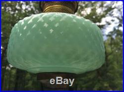 1937 Green Jade Moonstone Aladdin B Diamond Quilt Kerosene Oil Lamp Jadeite