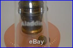 1938 ALADDIN B-87 VERTIQUE MOONSTONE ROSE OIL LAMP Nu-Type B Burner, LO Chimney