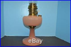 1938 ALADDIN VERTIQUE B-87 MOONSTONE ROSE LAMP Model Nu Type B Burner Nice