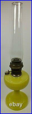 1938 Aladdin B-88 Vertique Yellow Vaseline Moonstone Lamp With Signature Chimney