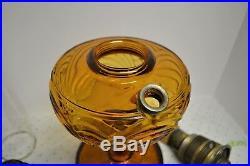1940's ALADDIN AMBER WASHINGTON DRAPE B-55 Plain Stem Lamp NuType B Burner Chim