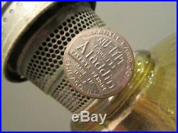 1940's ALADDIN AMBER WASHINGTON DRAPE Plain Stem Lamp Model B Burner 3 line Chim