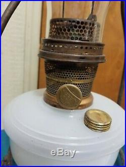 1940s Aladdin Alacite Glass Shelf Hanging Lamp Font With Model B Burner