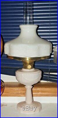 1940s Aladdin Alacite Lincoln Drape Kerosene Oil Table Lamp With Milk Glass Shade