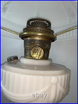 1940s Aladdin Alacite Lincoln Drape Lamp With flowered shade Model B Burner