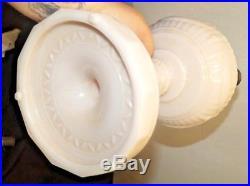 1940s Aladdin Alacite White Lincoln Drape Kerosene Oil Table Lamp Marked Chimney