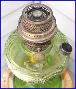 1941 Aladdin Emerald Green Washington Drape Kerosene Oil Table Lamp No chimney
