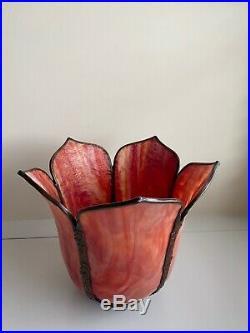 1ST MADE Aladdin Model 206 Red Slag Art Oil Kerosene Lamp Shade By Glass FX 00