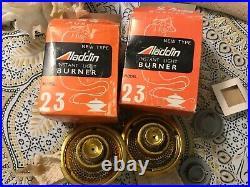 2 ALADDIN Model 23 Round Wick Kerosene Oil Lamp Brass Burners in Box