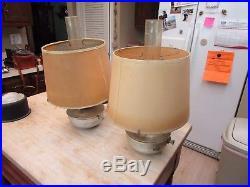 2 Aladdin Railroad Caboose Kerosene Oil Lamp Shade & Spring Wall Bracket