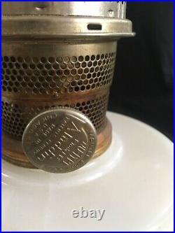(2) Antique Aladdin Wall Bracket or Shelf Lamp Burner & Chimney Matched Pair