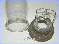 2 Genuine Aladdin Oil Lamp Clear Glass Lox On Chimney & Brass Fittings Vintage