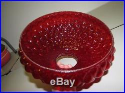 (2) Ruby Red glass Oil lamp shade Diamond Quilted Kerosene Aladdin (Fenton)