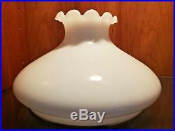 9-3/4 SHADE ruffle top MILK GLASS student BANQUET oil ANTIQUE lamp part