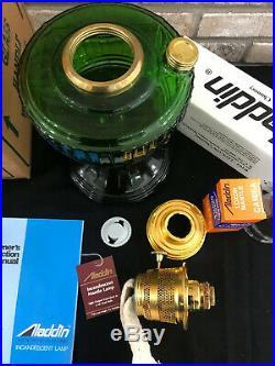 ALADDIN 1999 KEROSENE OIL LAMP Short Lincoln DRAPE Model 23 Burner Green
